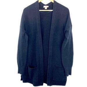 Loft fuzzy open black oversized sweater cardigan M